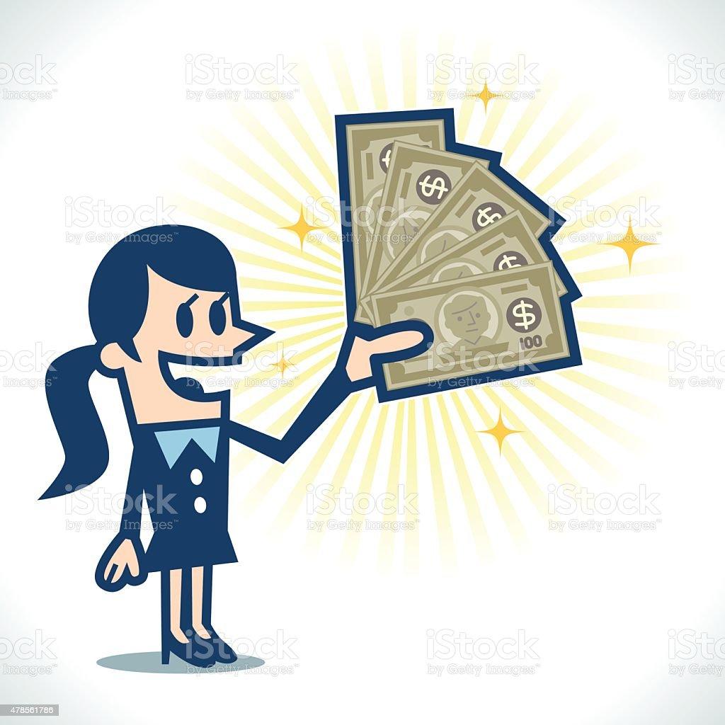Woman with money vector art illustration