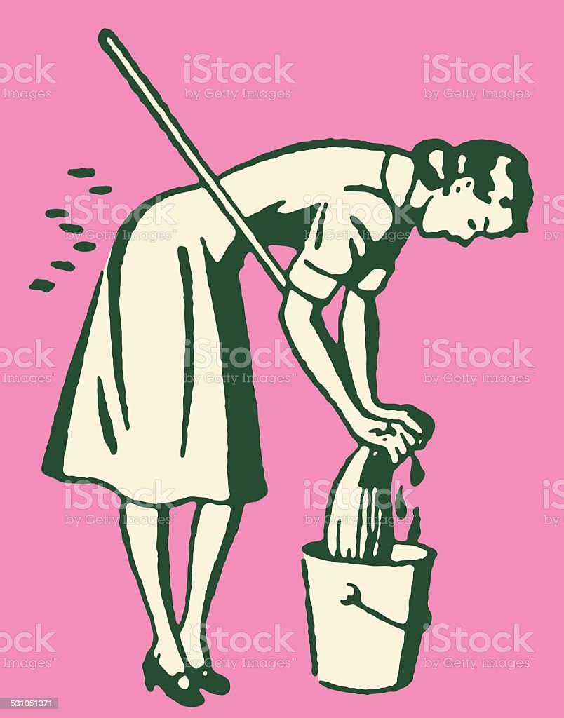 Woman with Mop and Bucket vector art illustration
