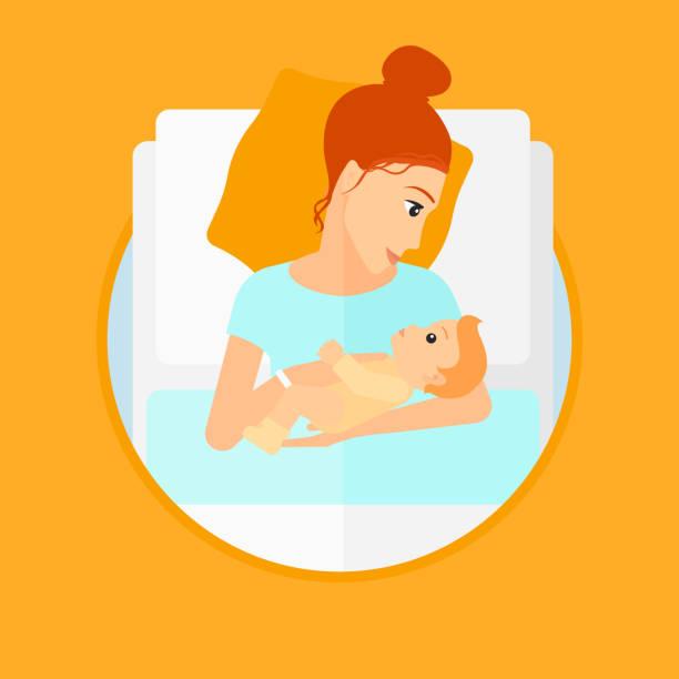 ilustrações, clipart, desenhos animados e ícones de mulher com nova nascido na maternidade - novo bebê