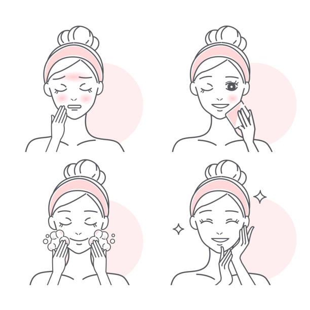 オイルスキンを持つ女性 - 体 洗う点のイラスト素材/クリップアート素材/マンガ素材/アイコン素材