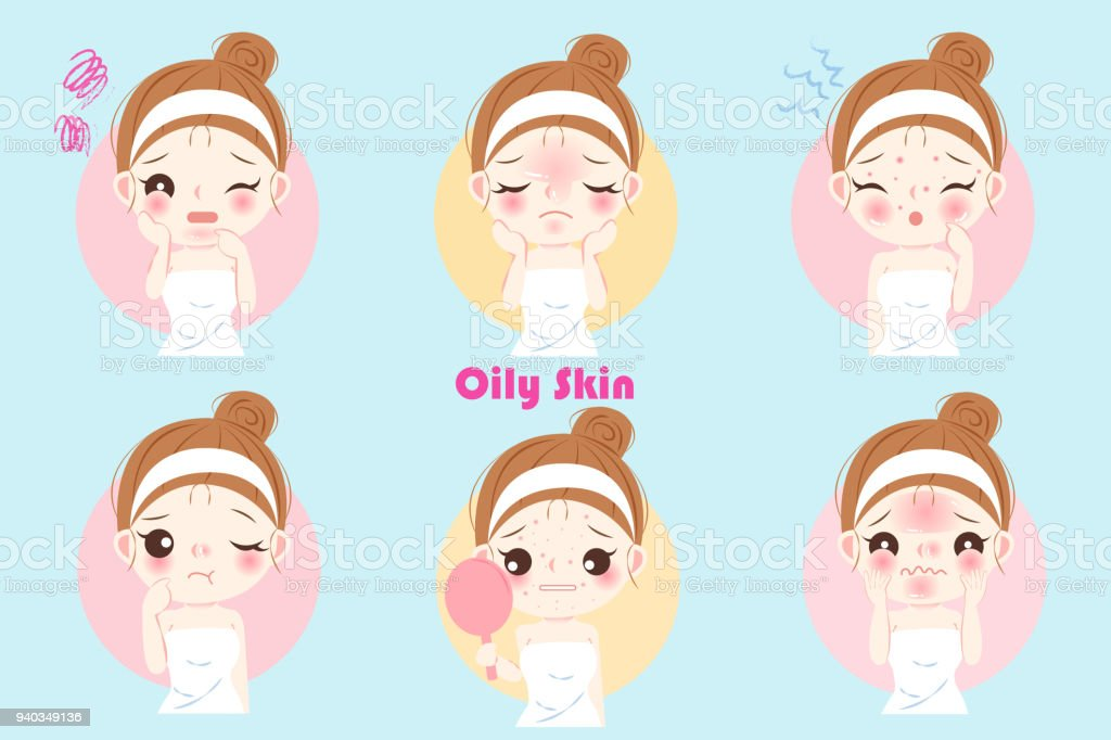 woman with oily skin vector art illustration