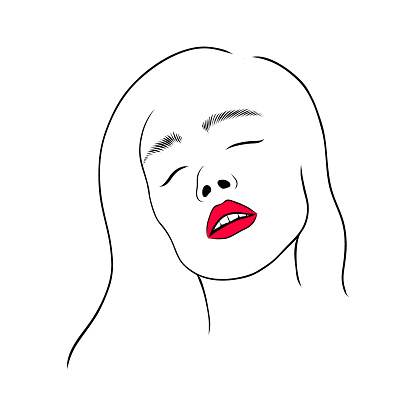 Woman With Open Mouth With Red Lips Line Art Hand Drawn