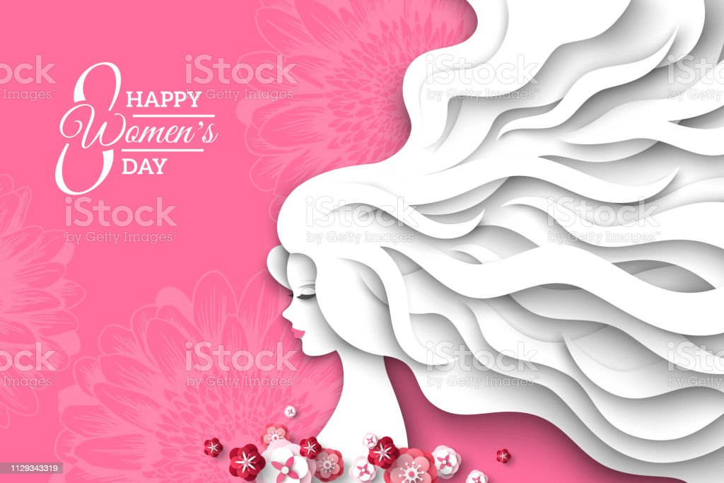 Woman with paper cut hair vector art illustration