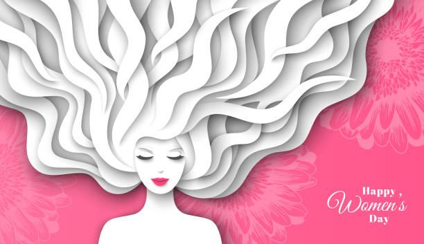 紙で女性の髪をカット - 美容室 3d点のイラスト素材/クリップアート素材/マンガ素材/アイコン素材