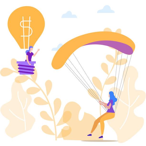 bildbanksillustrationer, clip art samt tecknat material och ikoner med kvinna med fallskärm och kvinna i ballong. vektor. - changing bulb led