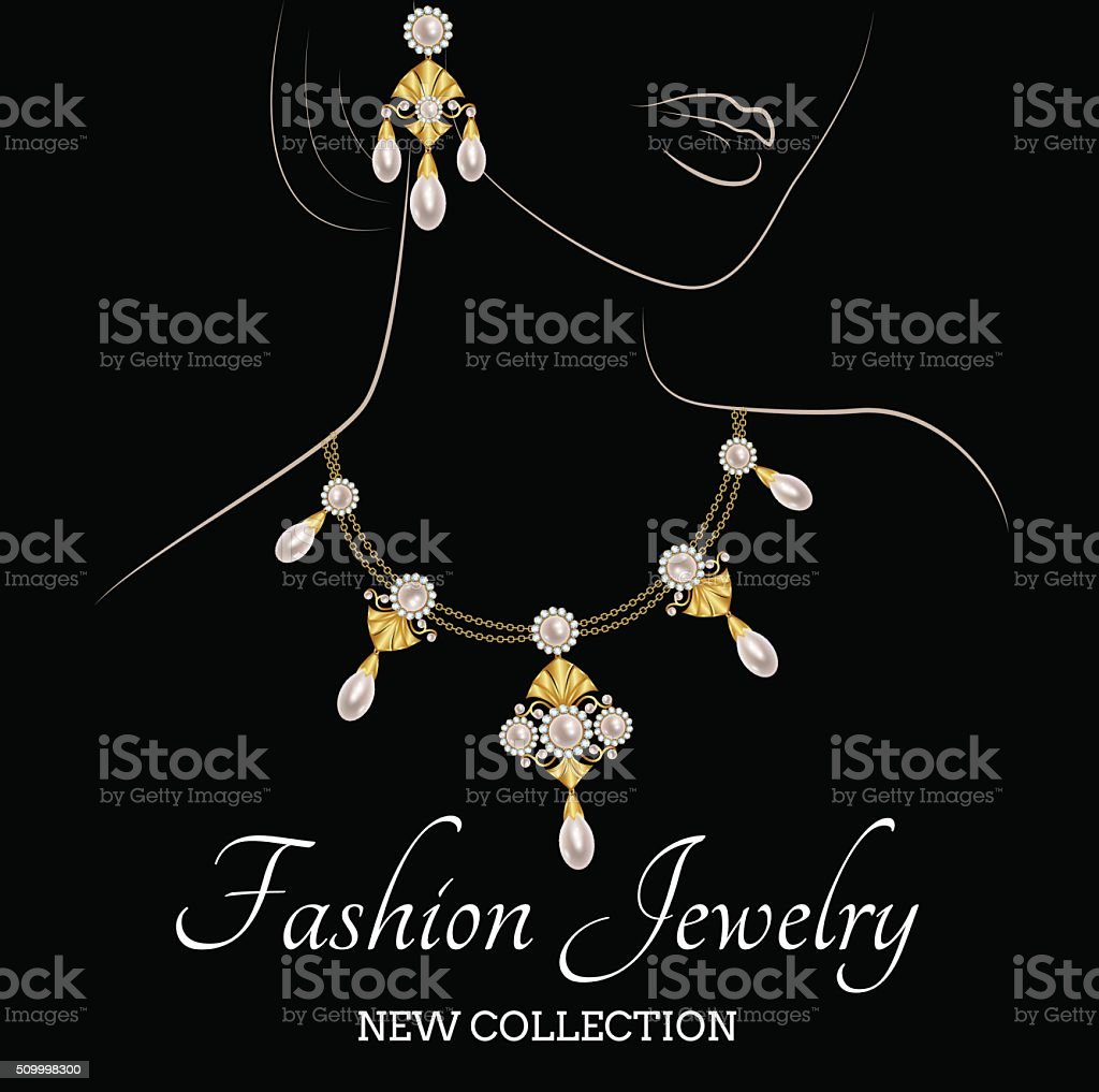 Woman with pearl necklace and earrings vector art illustration