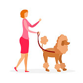 Woman with Poodle on Leash Vector Illustration