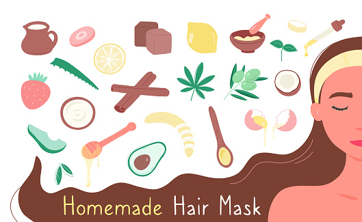 Woman with products for making homemade hair masks