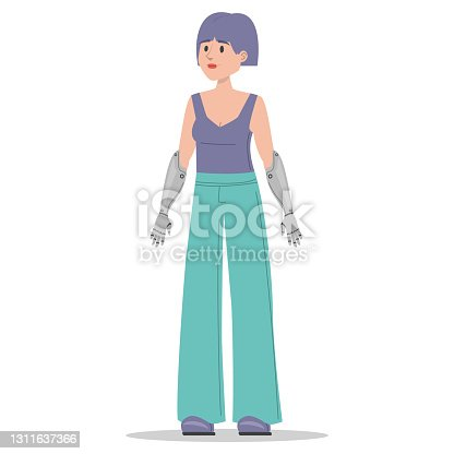 istock Woman with prosthetic bionic arms vector isolated 1311637366