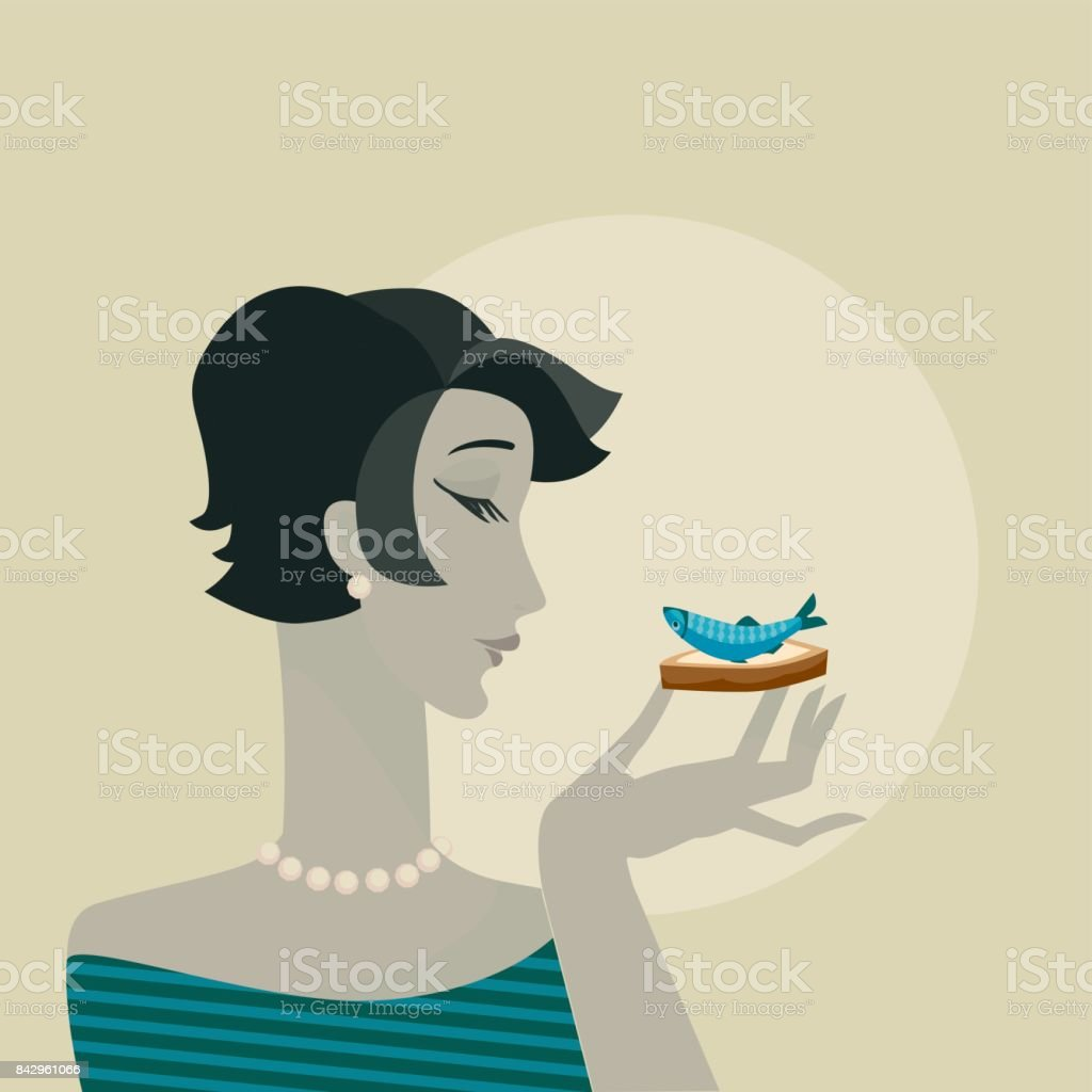 woman with seafood snack  portrait. party vector poster vector art illustration