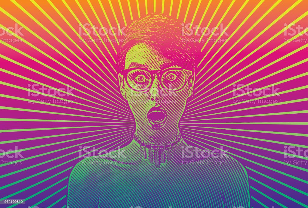 Woman with shocked facial expression vector art illustration