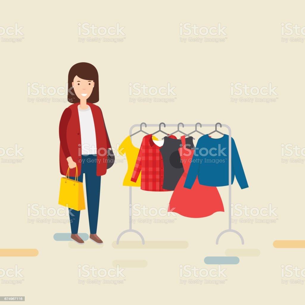 Frau mit Einkaufstasche – Vektorgrafik