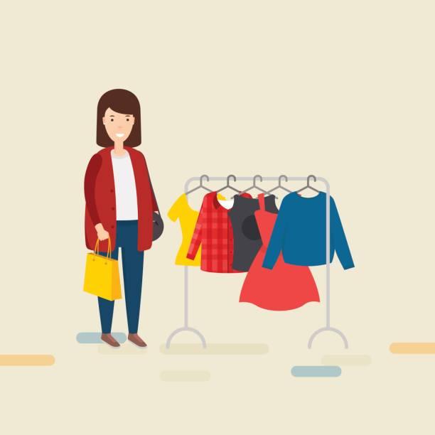 frau mit einkaufstasche - damenmode stock-grafiken, -clipart, -cartoons und -symbole