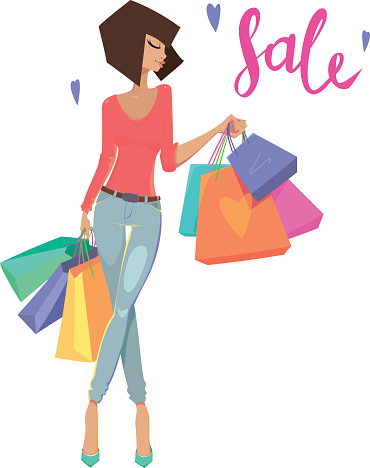 Woman with shopping bags, sign sale