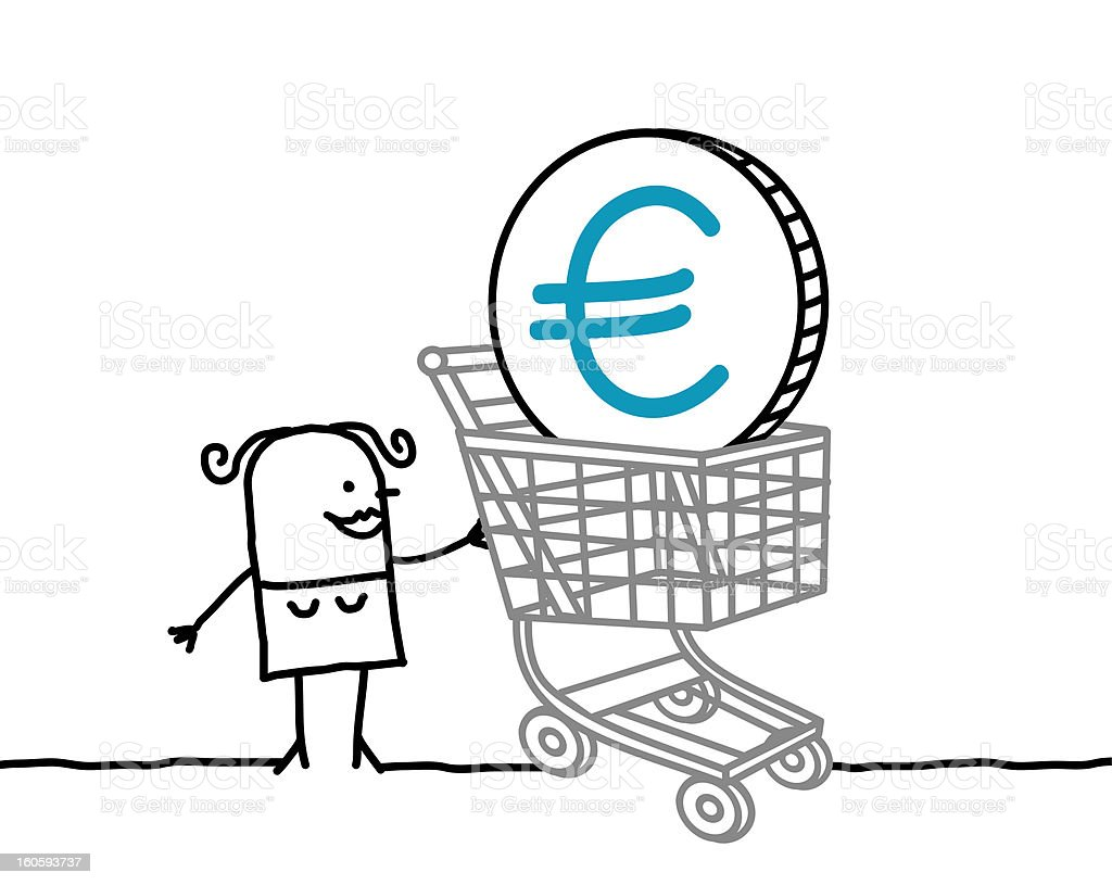 woman with shopping cart & euro royalty-free stock vector art