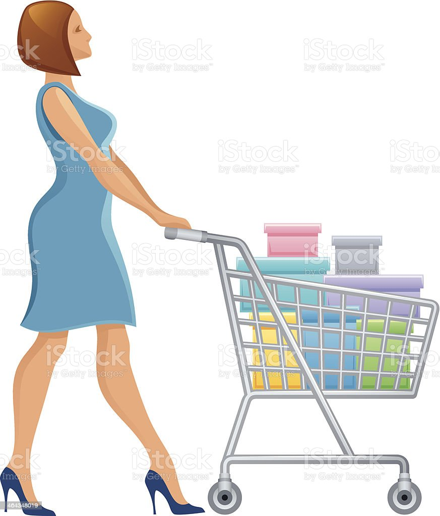 Woman with shopping cart royalty-free stock vector art