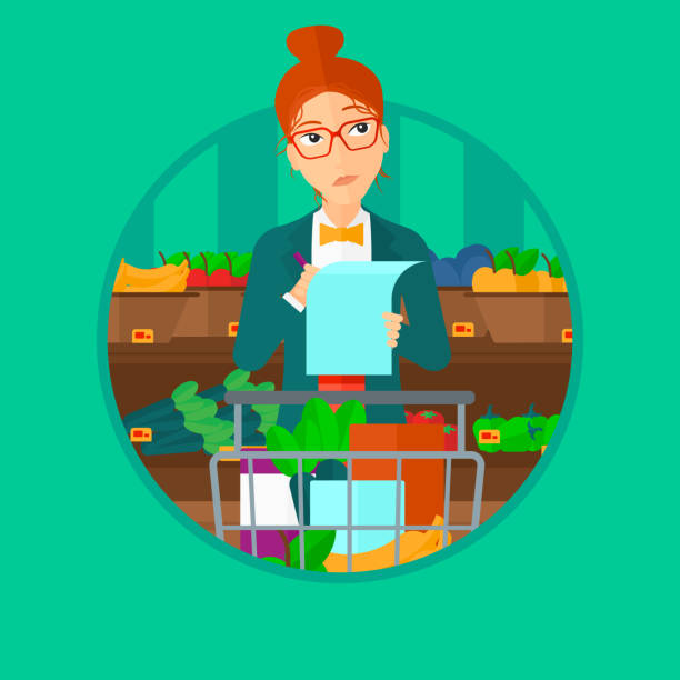 Woman with shopping list Thoughtful woman standing at the supermarket with supermarket trolley full with products and holding a shopping list in hands. Vector flat design illustration in the circle isolated on background. shopping list stock illustrations