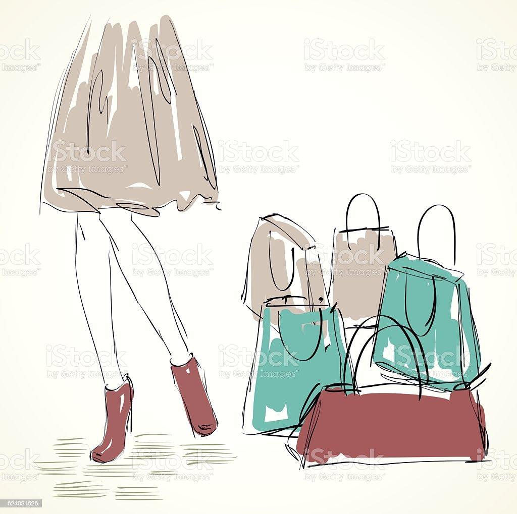 女性、ショッピング ベクターアートイラスト