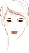 Vector-illustration in brush-style of a woman with short brown hair