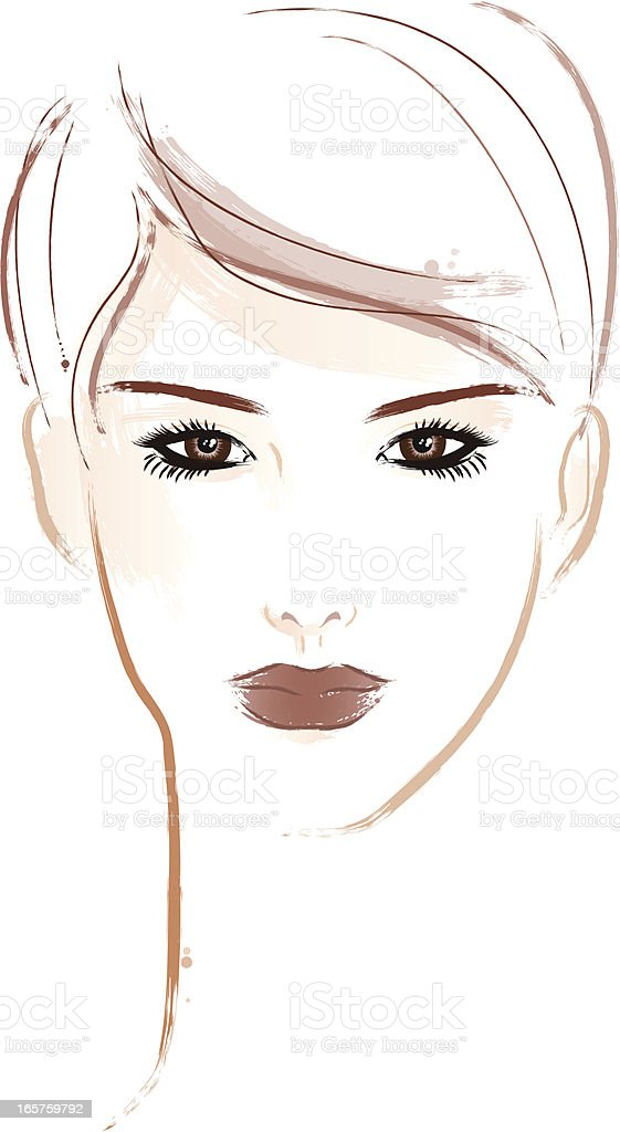 Woman with short brown hair vector art illustration
