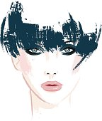 Vector-illustration in brush-style of a woman with short green hair