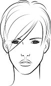 Vectorillustration of a woman with short hair in outline style