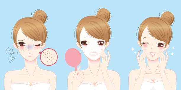 woman with skincare problem vector art illustration