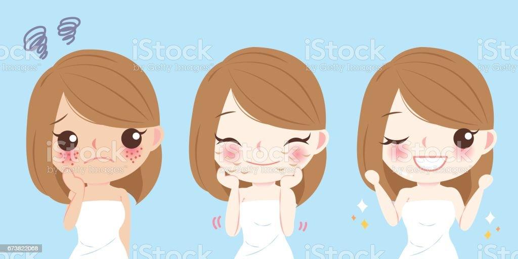 woman with skincare problem royalty-free woman with skincare problem stok vektör sanatı & akne'nin daha fazla görseli