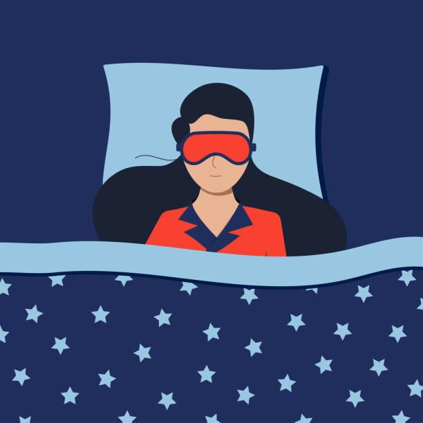 bildbanksillustrationer, clip art samt tecknat material och ikoner med kvinna med sömnmask sover på natten i sängen hemma eller på hotellet. - cosy pillows mother child