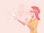 Woman With Smart Glasses Using Virtual Interface