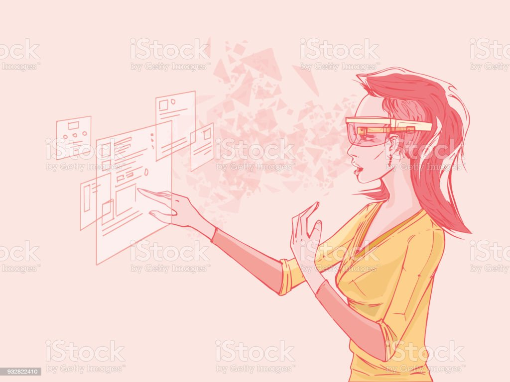 Woman With Smart Glasses Using Virtual Interface vector art illustration