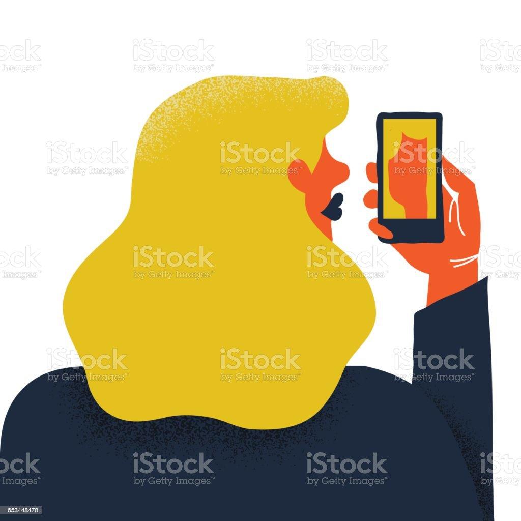 Frau mit Smartphone – Vektorgrafik