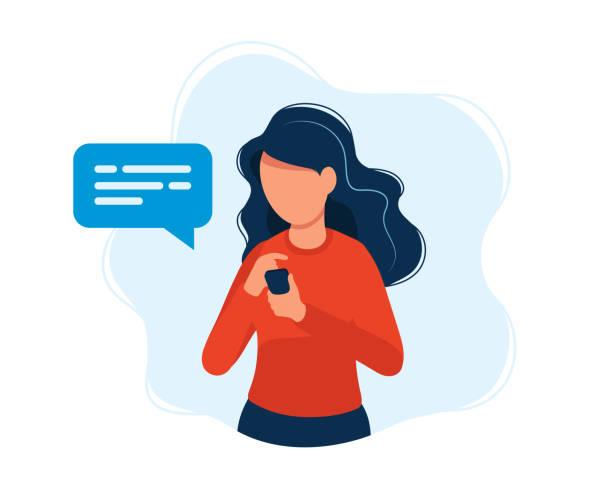 frau mit smartphone. konzeptdarstellung, texting, messaging, chatten, social media, kundenbetreuung, treffen über internet, kommunikation. helle bunte vektorillustration. - frau handy stock-grafiken, -clipart, -cartoons und -symbole