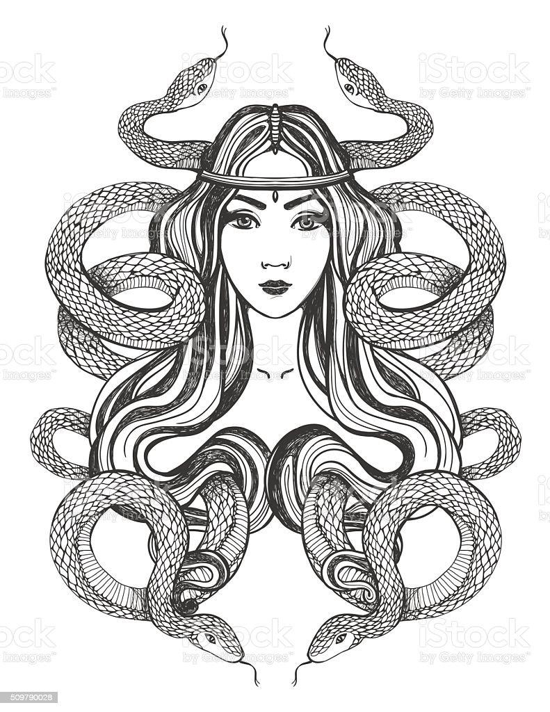 Ilustración de Mujer Con Serpientes Tatuaje Arte Para Colorear Libro ...