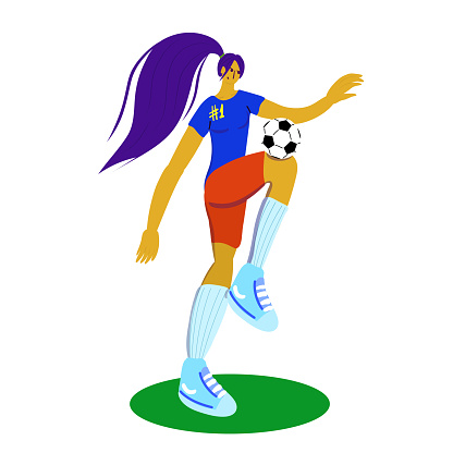 woman with soccer ball in flat style illustration.Women soccer.Soccer player