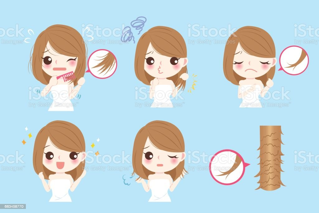 woman with split ends vector art illustration