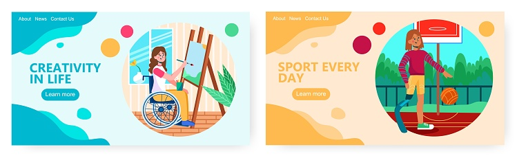 Woman with sport knee prosthesis plays basketball. Disability concept illustration. Vector web site design template. Disabled girl on wheelchair painting landscape at home