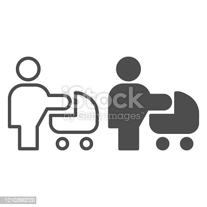Woman with stroller line and solid icon. Mother with baby pram or carriage symbol, outline style pictogram on white background. Relationship sign for mobile concept and web design. Vector graphics