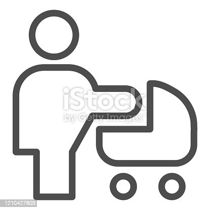 istock Woman with stroller line icon. Mother with baby pram or carriage symbol, outline style pictogram on white background. Relationship sign for mobile concept and web design. Vector graphics. 1210427803