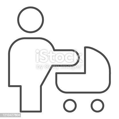 istock Woman with stroller thin line icon. Mother with baby pram or carriage symbol, outline style pictogram on white background. Relationship sign for mobile concept and web design. Vector graphics. 1210427804