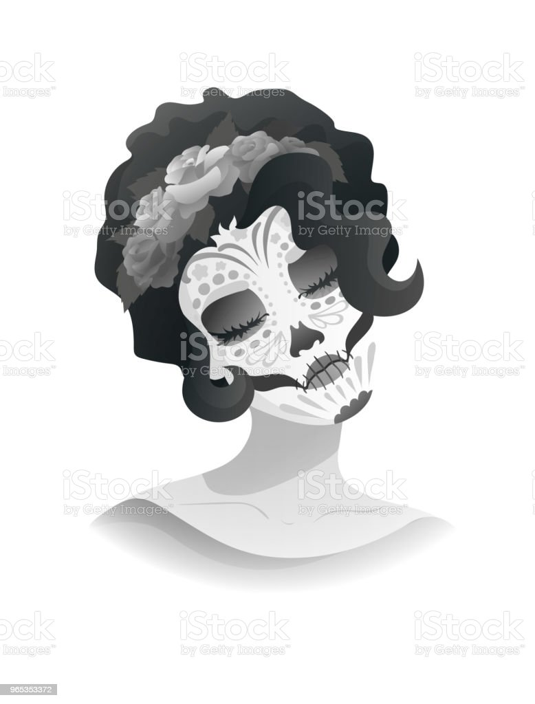 woman with sugar skull makeup and wreath of roses woman with sugar skull makeup and wreath of roses - stockowe grafiki wektorowe i więcej obrazów biały royalty-free