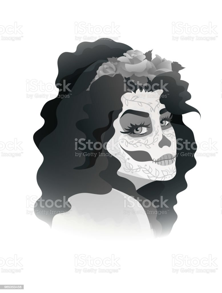 woman with sugar skull makeup and wreath of roses royalty-free woman with sugar skull makeup and wreath of roses stock vector art & more images of adult