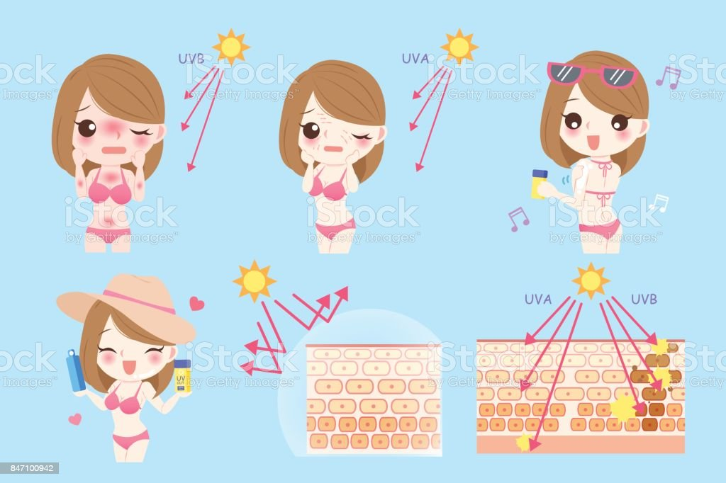 woman with sunscreen vector art illustration