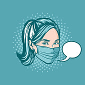 Comic book style pop art illustration of a beautiful young woman wearing a protective surgical mask.