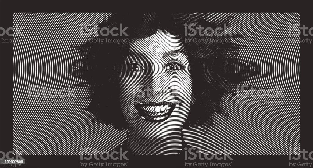 Woman with surprised expression and tangled hair vector art illustration