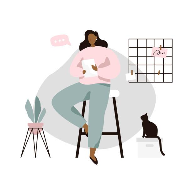 stockillustraties, clipart, cartoons en iconen met vrouw met tablet in gezellige kamer. vrouw lezen nieuws of boek op tablet. - teenager animal