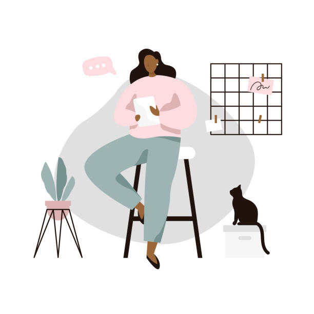 ilustrações de stock, clip art, desenhos animados e ícones de woman with tablet in cozy room. woman reading news or book on tablet. - segurar
