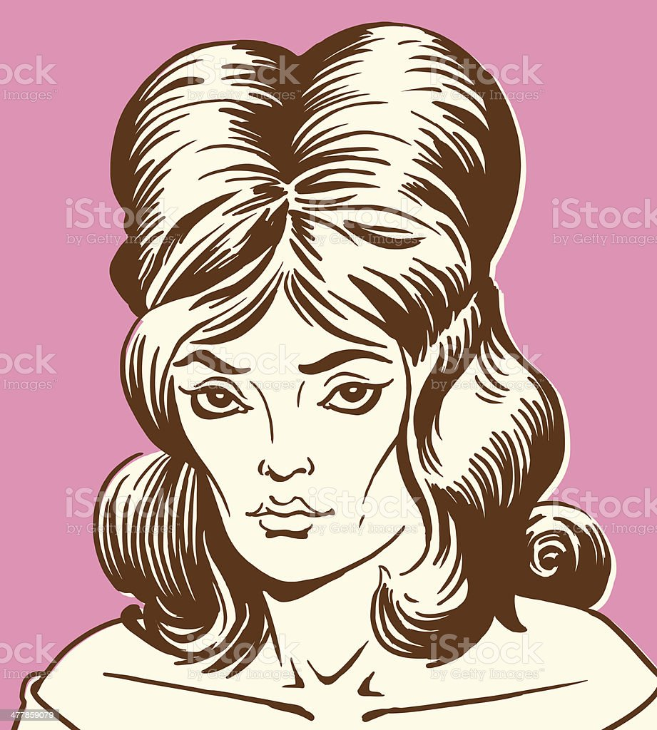 Woman with Tall Hair vector art illustration
