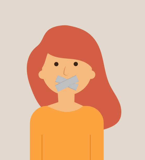 woman with tape on mouth, vector illustration vector art illustration