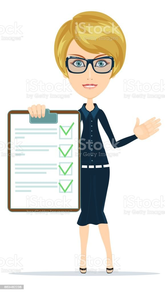 Woman with the clipboard questionnaire vector art illustration
